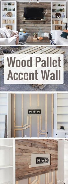 Drastically change the look and feel of your living room with a beautiful wood pallet accent wall. Using pallets makes this home makeover so inexpensive and easy to DIY! by LiveLoveLaughMyLife
