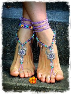PURPLE wedding BAREFOOT SANDALS Lotus Toe Thongs crochet by GPyoga, $79.00