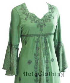 Liana Princess Neck Renaissance Medieval A-Line Gown Dress - Dresses: inspiration for gown necklines and embroidery?