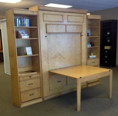 Barrington Table Bed, Wallbed, Murphy Bed, Bedroom Solutions. Wallbed has fold down desk, or crafting table. Wallbed comes with or without table