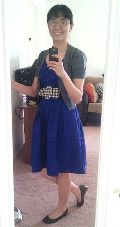 """I paired my blue dress with a gray cropped cardigan and new brown flats from Payless, and hubby said I looked like Jess from """"New Girl"""". Since I LOVE Zooey Deschanel's style, I took that as a compliment AND mission accomplished! ;-)"""