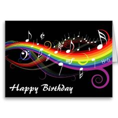 Shop Rainbow White Music Notes Happy Birthday Card Created By Giftsbonanza