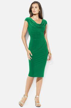 Lauren Ralph Lauren Cowl Neck Jersey Sheath Dress thestylecure.com