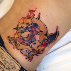 Awesome Charmander, Charmeleon and Charizard tattoo done by @phelliperodriguess.