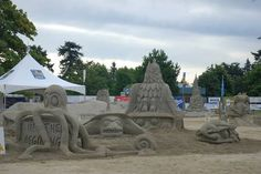 Sand sculpture contest at Parksville, BC