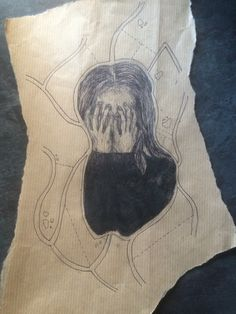 In style of ed fairburn (modified) using fineliner on brown paper