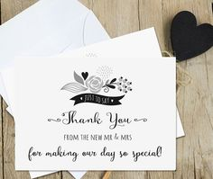 Thank You Wedding Card - Black on White Design Pearl Shimmer Card - Blank Inside for Your Personal Message - Thank You from the New Mr & Mrs #weddinginspiration #weddings #cards