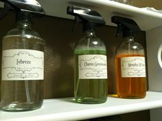 We rebottled and made labels for cleaning supplies in our laundry.