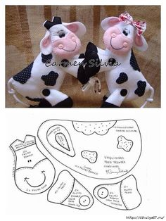Cow pattern, just lovely ,nice as a brooch, or bag charm Sewing Stuffed Animals, Stuffed Animal Patterns, Fabric Toys, Felt Fabric, Felt Patterns, Craft Patterns, Cow Pattern, Free Pattern, Pattern Sewing