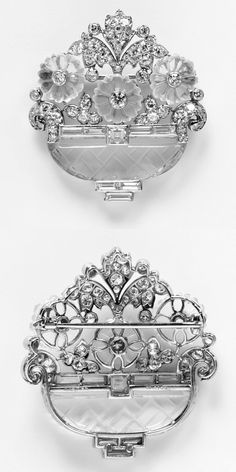 Brooch by Cartier, made from platinum, quartz crystal, moonstone and diamond, 1930, from V&A Museum