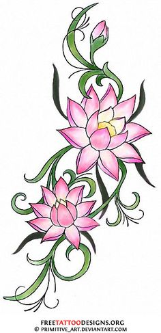 water-lilly-tattoo. maybe blue for Isaac and pink for Hannah (July birthday)