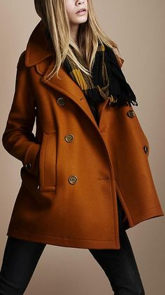 Burnt orange peacoat.