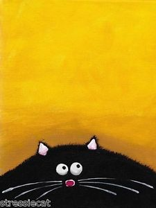 ACEO Print Acrylic Painting Folk Art Whimsical Illustration Fat Black Cat Yellow | eBay