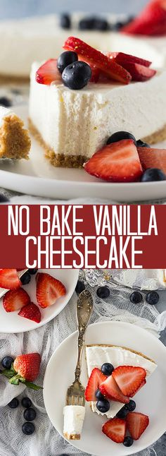 No Bake Vanilla Cheesecake | Countryside Cravings