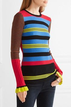 Multicolored ribbed-knit Slips on 48% cotton, 35% viscose, 14% lycra, 2% polyester, 1% lurex Hand wash Imported