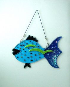 Turquoise Fused Glass Fish by orzohar on Etsy, $52.00