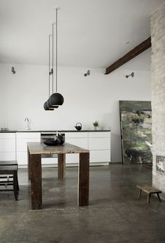 acid washed concrete floor. modern meets rustic. simple.