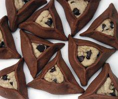 CHOCOLATE CHIP COOKIE STUFFED CHOCOLATE HAMANTASCHEN   chewy chocolate chip cookies inside chocolate sugar cookies: a fun twist on a purim classic!