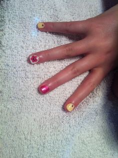 Nails pink /yellow with pink studs Nails by Missy