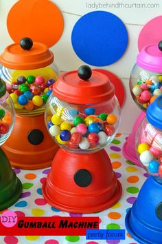 Adding these DIY Gumball Machine Party Favors to your party will bump up your gumball theme party to another level.  You can make these for just about any