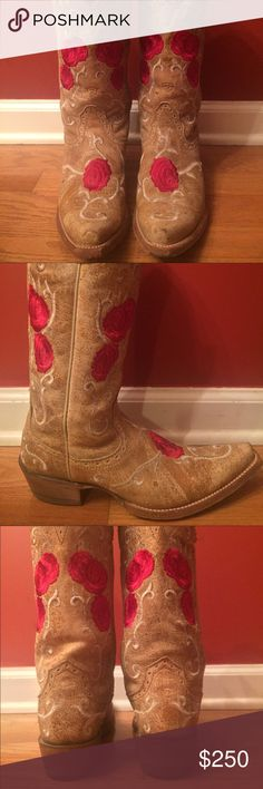 "Ariat 13""Embroidered Rose Boots Currently retails for $329.95 new, these have been stretched & worn a few times but well taken care of!  From the Presidio collection, the Corazon features elegant rose- and vine-patterned embroidery along the foot and shaft. Top-notch details include an X-toe with exaggerated toe spring and 13 tall leather lined shaft. The premium full-grain leather foot and shaft and hand-nailed veg tan leather outsole and heel raise this boots quality to the highest level…"