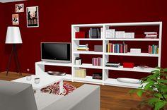 Salón comedor con librería, mueble TV y vitrina expositor