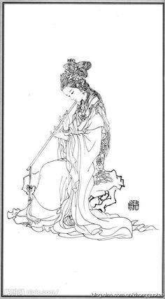 白描 神仙 弄玉 Flower Coloring Pages, Colouring Pages, Adult Coloring Pages, Coloring Books, Geisha Tattoo Design, Asian Quilts, Chinese Drawings, Black White Art, Flower Canvas