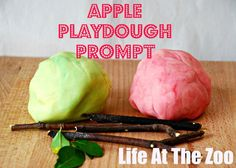 Super easy and simple APPLE PLAY DOUGH prompt. Make some home made play dough, add some leaves and twigs and off you go. My little girl LOVED this!
