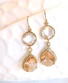 Gold Peach Earrings Clear Crystal Earrings by LoveShineBridal, $39.00