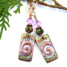 Tribal Spiral Handmade Copper Earrings, Green Lavender Artisan Jewelry | Shadow Dog Designs @shadowdog #cpromo