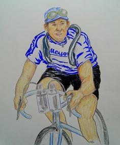 Andre Leducq, TdF 1930, 14x17, graphite & color pencil, aug 8, 2015.