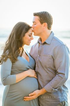 Moss Beach and Fitzgerald Marine Preserve Maternity Session | Cristin More Photography | Mother and Father to Be with Baby Bump on a Beach at Sunset