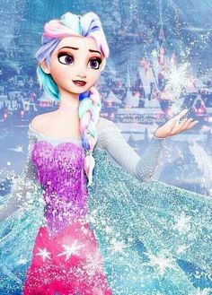 Queen Elsa Frozen edit- Her hair looks like cotton candy :)