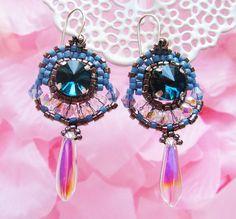 Handmade Earrings made with miyuki beads, crystal and glass.