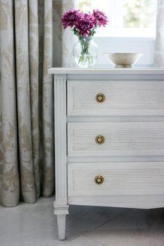 Liam Dresser, Gustavian White - Ave Home - Brands One Kings Lane Three Drawer Dresser, Dresser Drawers, Dresser As Nightstand, Swedish Design, End Tables, Canterbury, Contemporary, Barn Doors, Storage