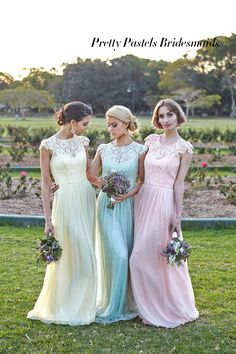 pretty pastels blue pink and yellow lace bridesmaid dresses