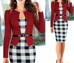 a4c7fceeb7d Elegant Faux Two Pieces Long Sleeve Women s Dress Summer Work Outfits