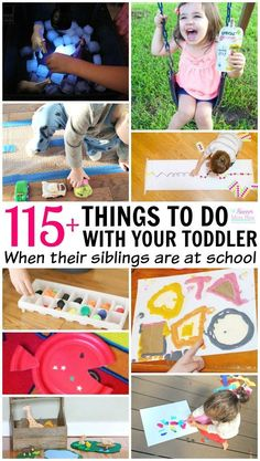 Siblings are great for entertaining each other.until older brothers sisters go back to school! A go-to list of toddler activities for stay at home moms (or dads!) Educational, science, arts crafts, play, and fine motor activities perfect for toddler Toddler Play, Toddler Learning, Toddler Preschool, Toddler Crafts, Toddler Snacks, Toddler Games, Baby Play, Motor Activities, Infant Activities