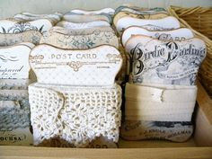 Make display cards for bits of lace and trim -- display in craft room, or as part of shabby chic decor.