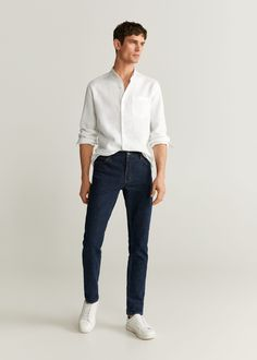 Mens Dress Outfits, Basic Outfits, Men Dress, Casual Outfits, Men Casual, Men's Clothing Looks, Mango, Gentleman Style, Workout Shirts