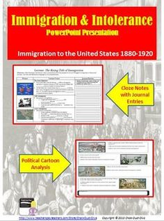 This is a fun and interactive lecture where students will learn about immigration to America at the turn of the century. As the student review the lecture they write journal entries pretending they are an immigrant describing their experience. At the end, the students complete an activity where they analyze political cartoons related to immigration. $8