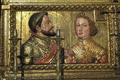 Ferdinand of Aragon (1452-1516) and Isabella of Castile (1451-1504), a reliquary in the Royal Chapel, Capilla Real. Parents of Catherine of Aragon, first wife of Henry VIII.