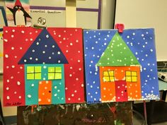 Winter Houses This is a cute lesson to do with primary classes. We watched an old Norwegian folk tale about the North Wind on You Tube before starting the project. Each student got a different background color on which they used a variety of colored construction paper to create their houses.