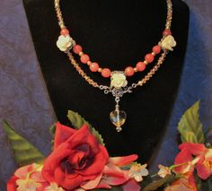 Romance in Bloom - Rose Alexandrite, Pearl and Crystal Necklace with Ivory Roses and Crystal Heart, $65 #Valentine's Day, #RomanticThoughts.etsy.com, #jewelry