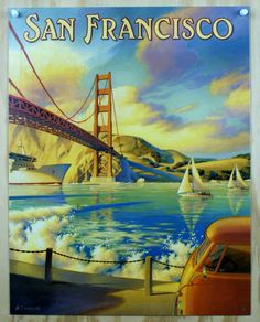 Pin San Francisco Tin Metal Sign Golden Gate Bridge California Travel Bay Side F11