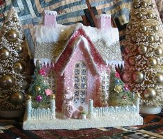 Vintage Style Cody Foster Christmas Large Pink House with Poodle | eBay