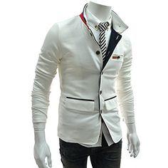 (GD141-WHITE) Slim Stretchy 2 Tone China Collar Cardigan