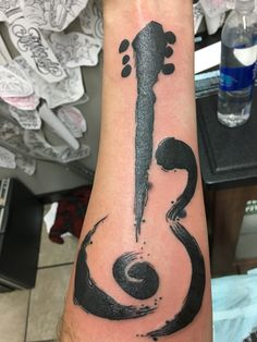 Ink Brush Guitar by Colin at Iron Tiger in Columbia MO Sun Tattoos, Music Tattoos, Small Tattoos, Sleeve Tattoos, Tattoos For Guys, Cool Tattoos, Faith Tattoos, Quote Tattoos, Calf Tattoo