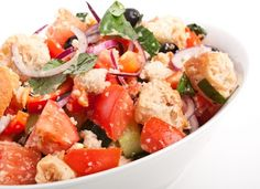 Get Panzanella Recipe from Food Network Raw Vegan Recipes, Wine Recipes, Food Network Recipes, Italian Recipes, Vegetarian Recipes, Cooking Recipes, Healthy Recipes, Greek Salad Recipes, Bread Salad