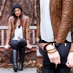 Danier Leather Jacket, Joe Fresh Silk Blouse, Lululemon Leggings, Me Too Leather Boots
